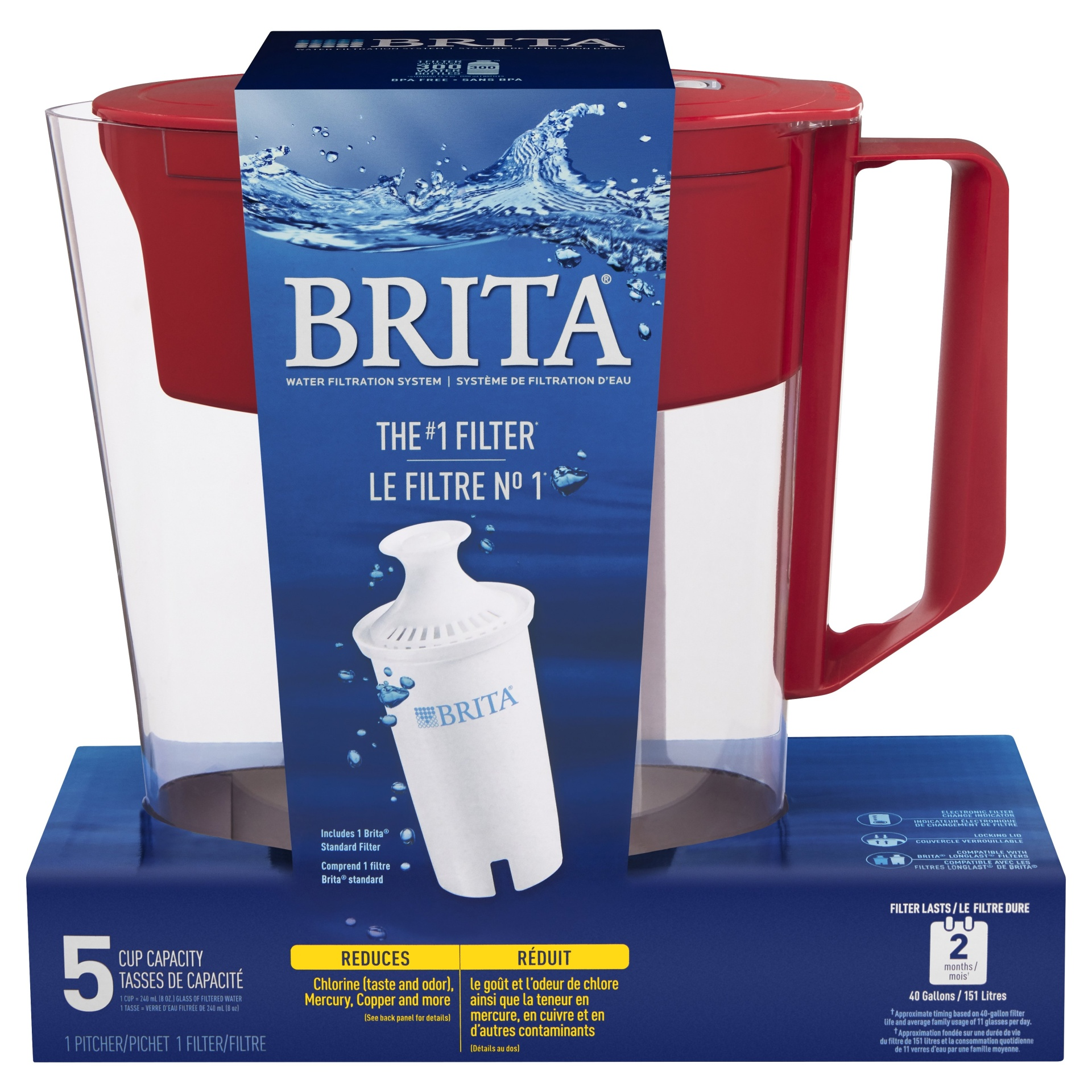 slide 1 of 1, Brita Soho 5-Cup Water Pitcher - Red,