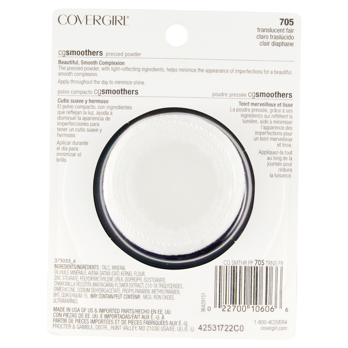 slide 2 of 2, Covergirl Smoothers Pressed Powder 705 Translucent Fair,