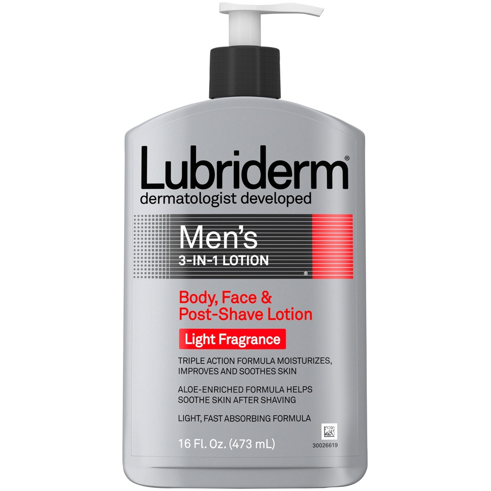 slide 1 of 6, Lubriderm Mens 3in1 Body Face & Post-Shave Lotion Light Fragrance,