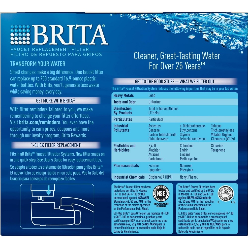 slide 5 of 6, Brita Tap Water Filtration System Replacement Filters For Faucets - Chrome,