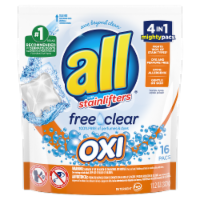 slide 1 of 1, All Free & Clear Oxi Detergent Mighty Pacs,