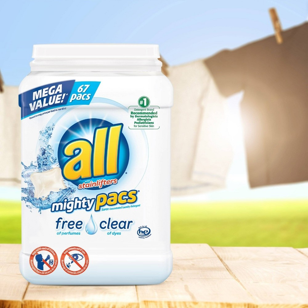 slide 3 of 5, All 4-in-1 Free & Clear with Stain Lifters HE Laundry Detergent Pacs,
