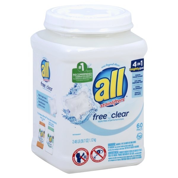 slide 1 of 5, All 4-in-1 Free & Clear with Stain Lifters HE Laundry Detergent Pacs,