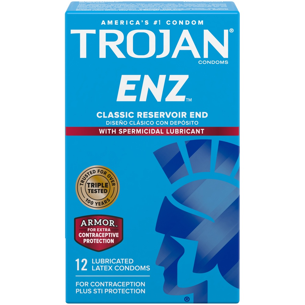 slide 2 of 7, Trojan ENZ Latex Condoms with Spermicidal Lubricant,