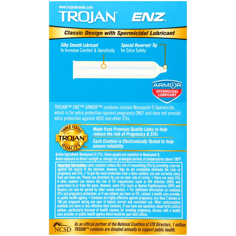 slide 7 of 7, Trojan ENZ Latex Condoms with Spermicidal Lubricant,