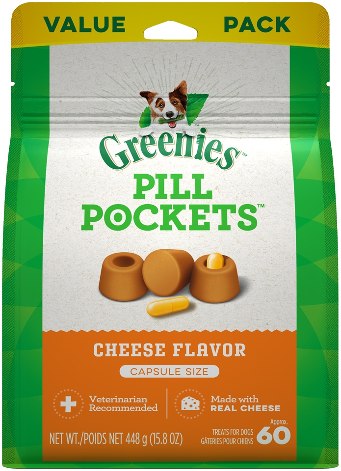 slide 1 of 9, Greenies Pill Pockets Cheese Flavor Capsule Dog Treats,
