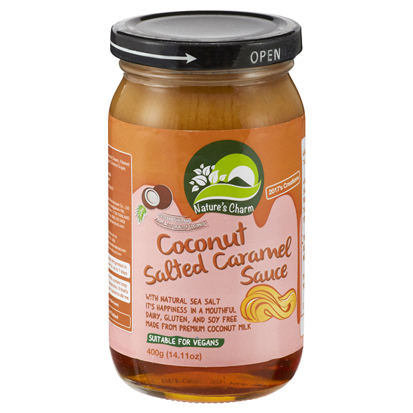 slide 1 of 1, Nature's Charm Coconut Salted Caramel Sauce,
