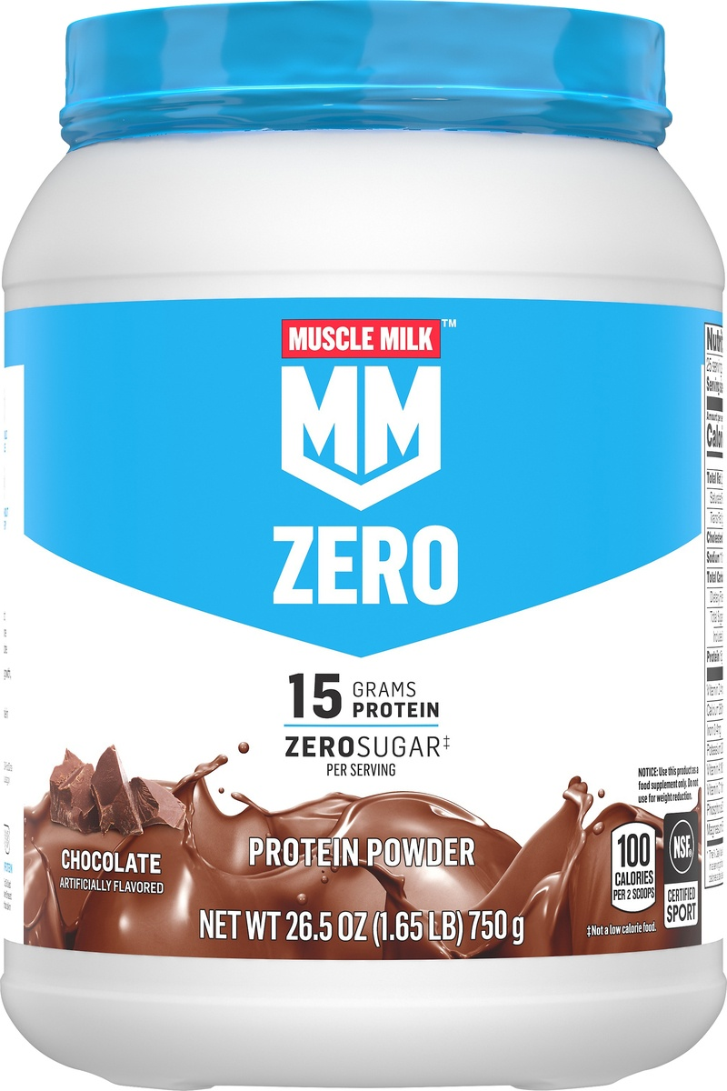 slide 5 of 6, Muscle Milk Low-Fat Protein Powder Chocolate,