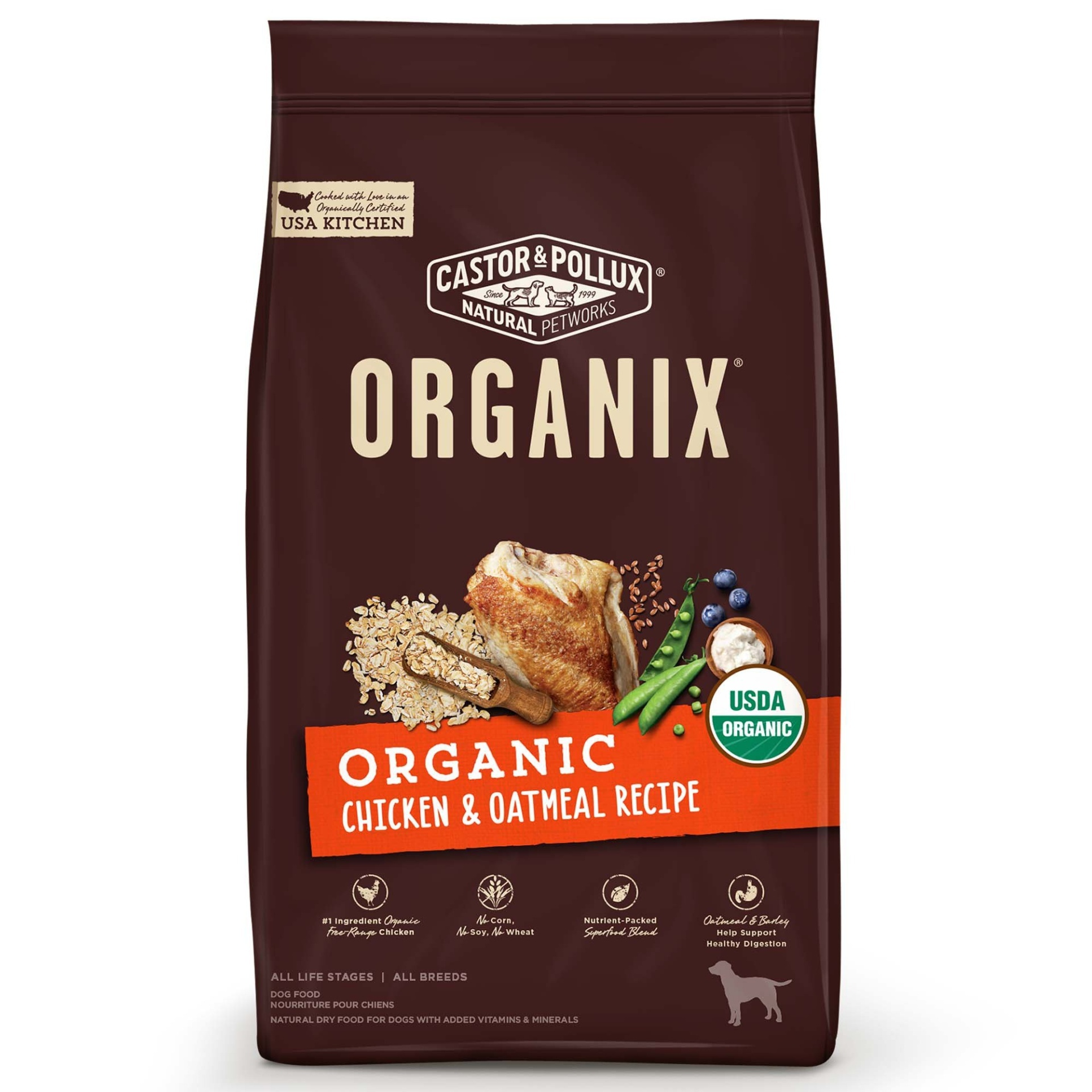 slide 1 of 1, Castor & Pollux Organix Organic Chicken & Oatmeal Dry Dog Food,