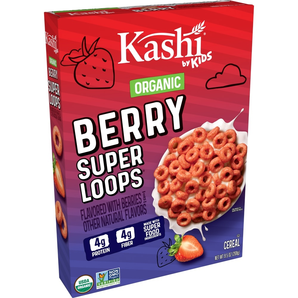 slide 1 of 7, Kashi By Kids Organic Berry Super Loops Cereal,
