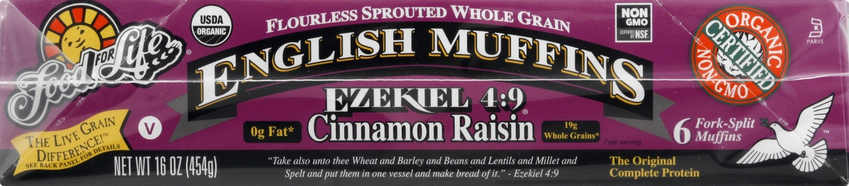 slide 10 of 10, Food for Life Cinnamon Raisin English Muffins,