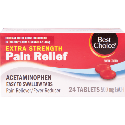 slide 1 of 1, Best Choice Extra Strength Pain Relief Sweet Coated Tablets 500 Mg,