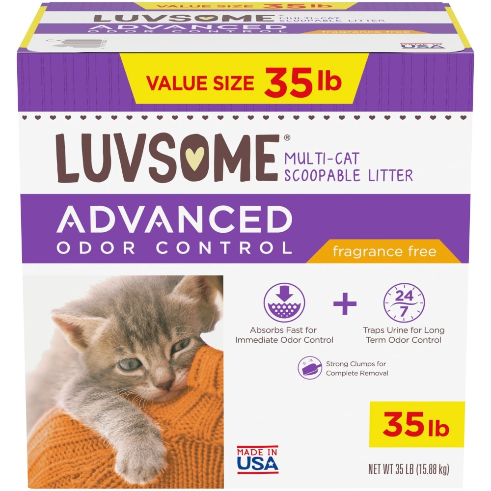 slide 1 of 1, Luvsome Advanced Odor Control Fragrance Free Multicat Scoopable Litter,