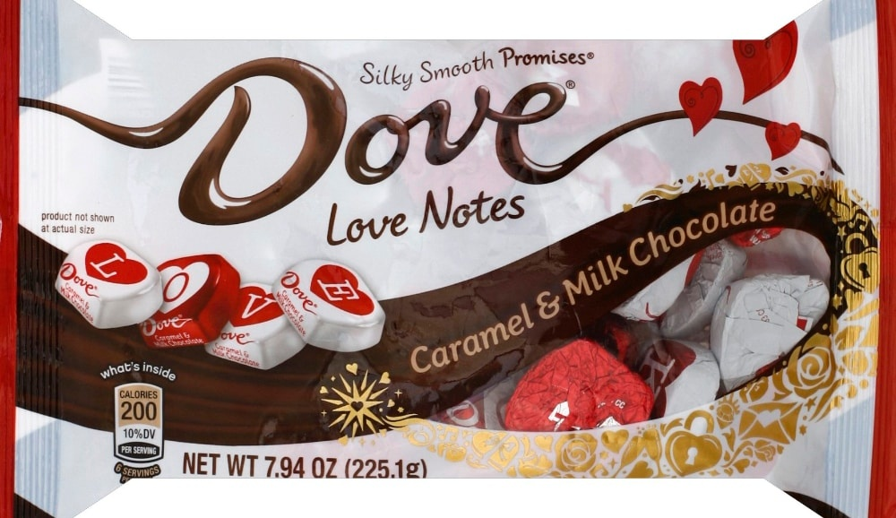 slide 1 of 1, Dove Chocolate Promises Valentines Day Love Notes Caramel Milk Chocolate Valentine Candy Bag,