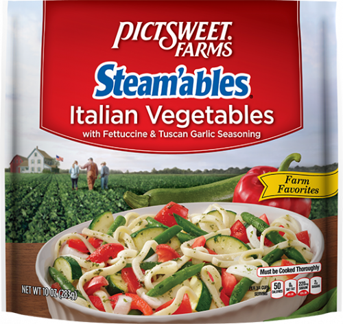 slide 1 of 1, Pictsweet Farms Steamables Italian Vegetables with Fettuccine & Tuscan Garlic Seasoning,