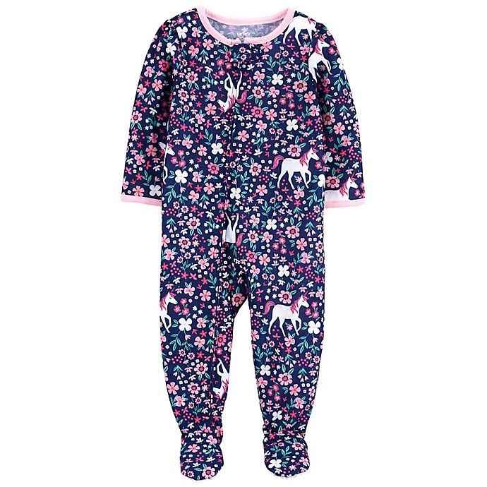 slide 1 of 1, Carter's Unicorn Footed Pajama - Navy,
