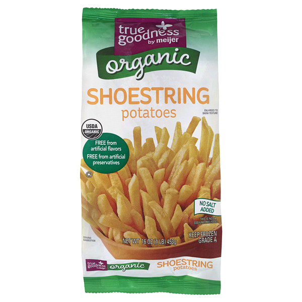 slide 1 of 4, True Goodness Organic Shoestring Potatoes,