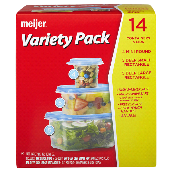 slide 1 of 4, Meijer Storage Containers, Variety Pack,