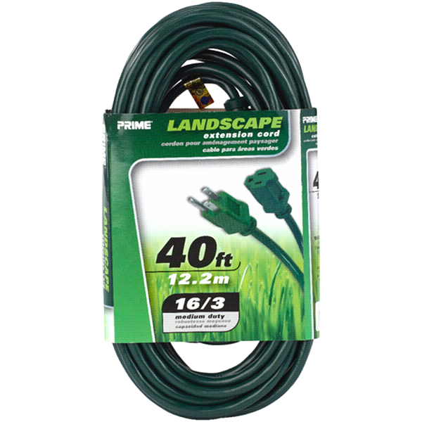 slide 1 of 1, Prime Wire 40 Foot 16/3 SJTW Green Outdoor Extension Cord,