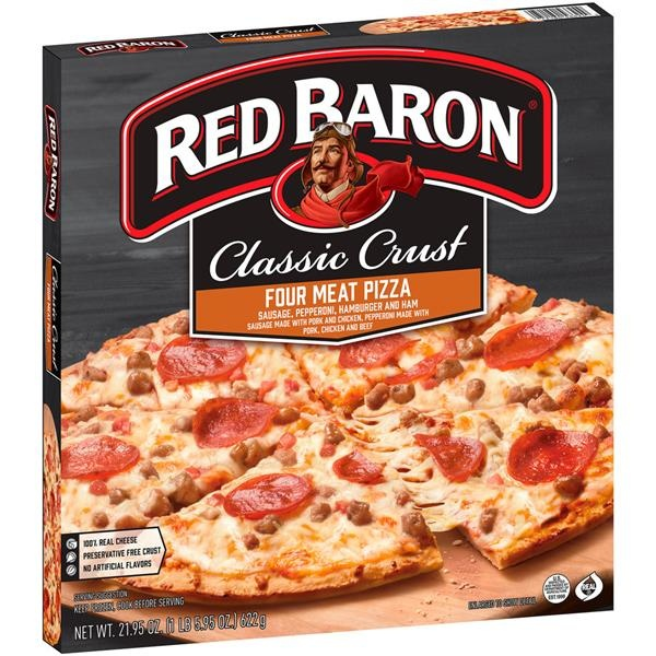 slide 1 of 9, Red Baron Classic Crust Four Meat Pizza,
