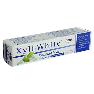 slide 1 of 2, NOW Xyliwhite Platinum Mint Toothpaste Gel with Baking Soda,