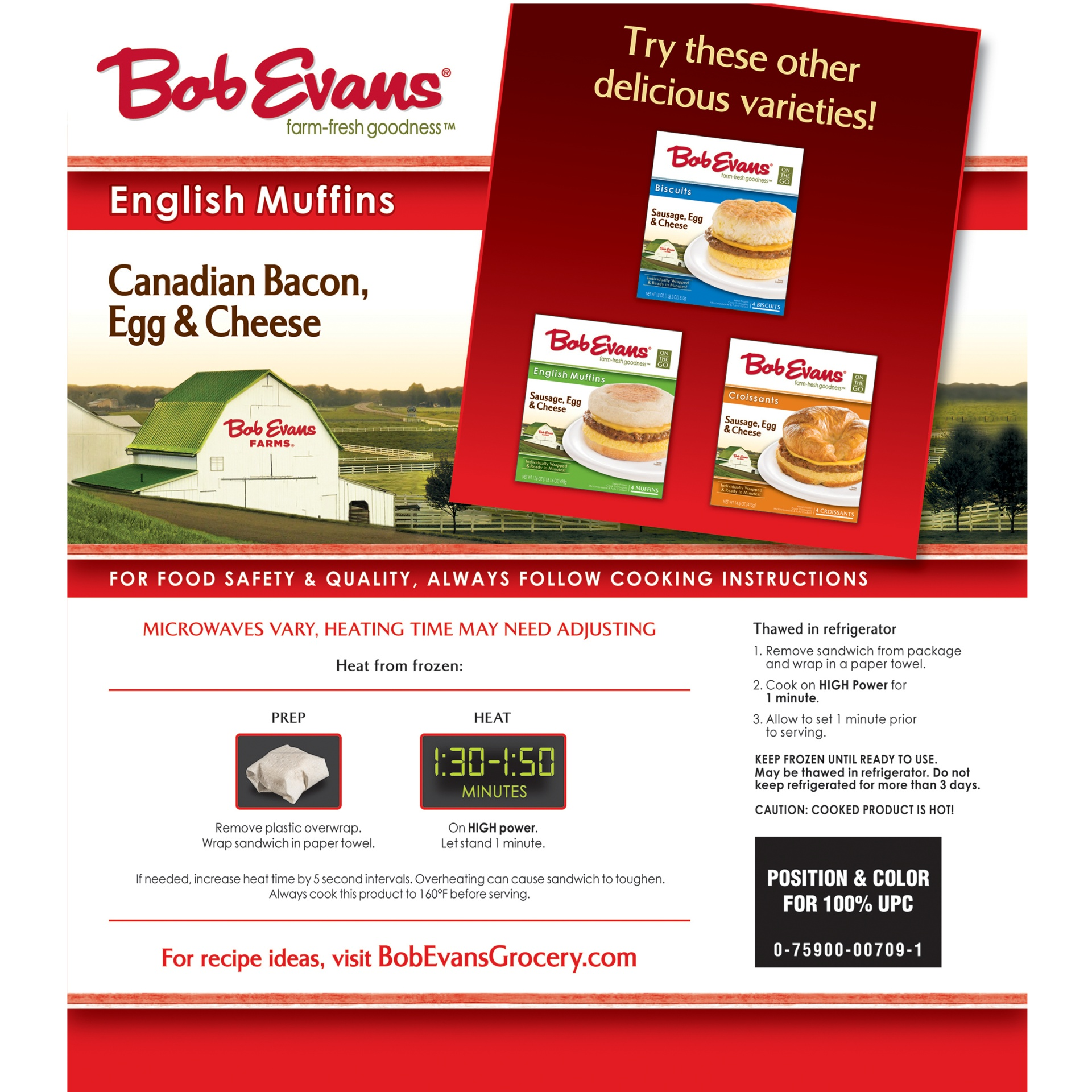 slide 6 of 8, Bob Evans On the Go Canadian Bacon, Egg & Cheese English Muffins 4 ct Box,