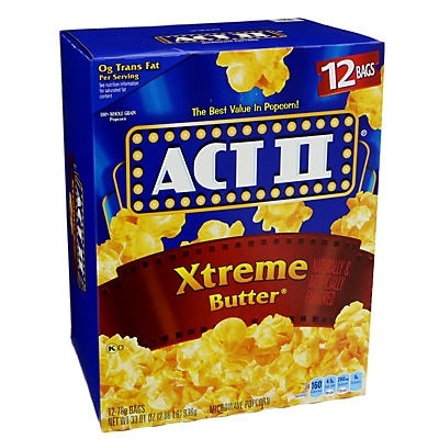 slide 1 of 1, ACT II Microwave Popcorn Xtreme Butter,