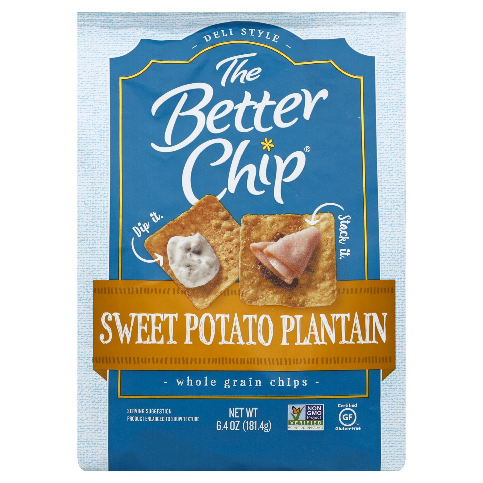 slide 1 of 8, The Better Chip Sweet Potato Plantain Whole Grain Chips,