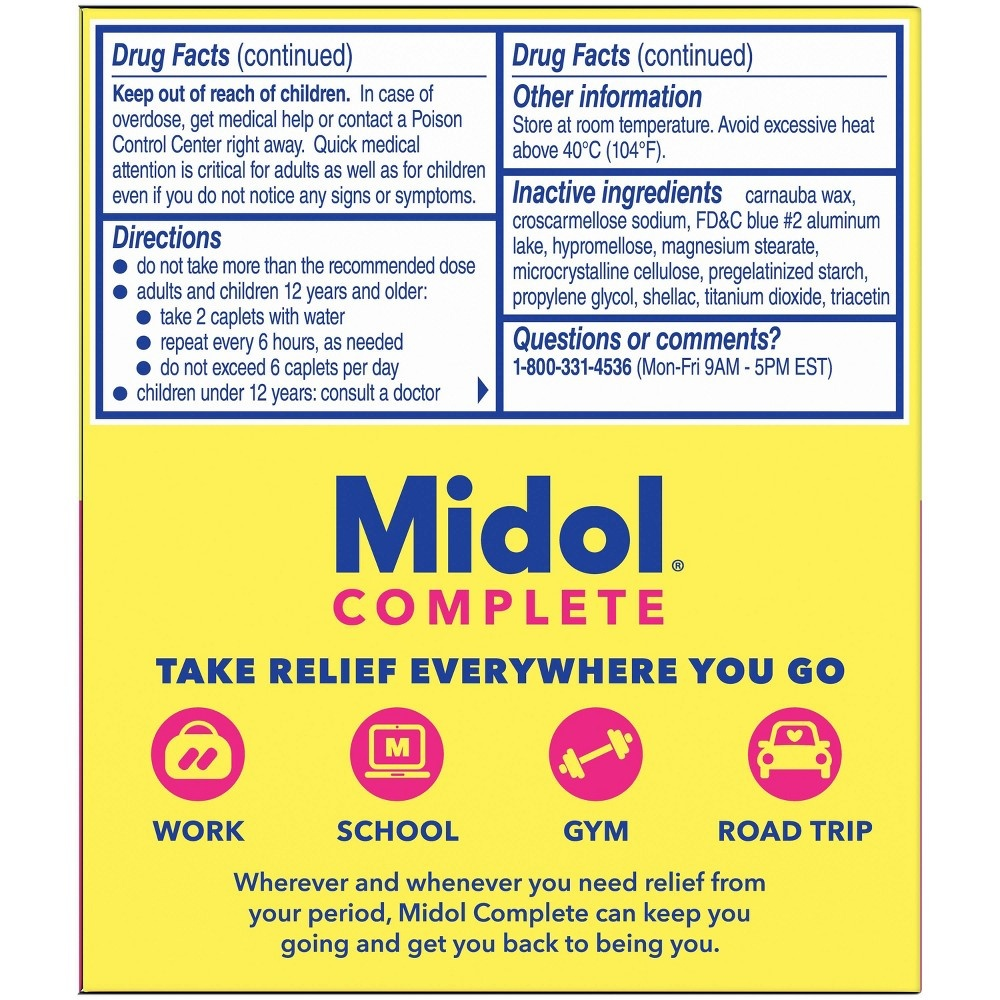 slide 3 of 5, Midol On the Go Menstrual Symptom Relief Tablets,