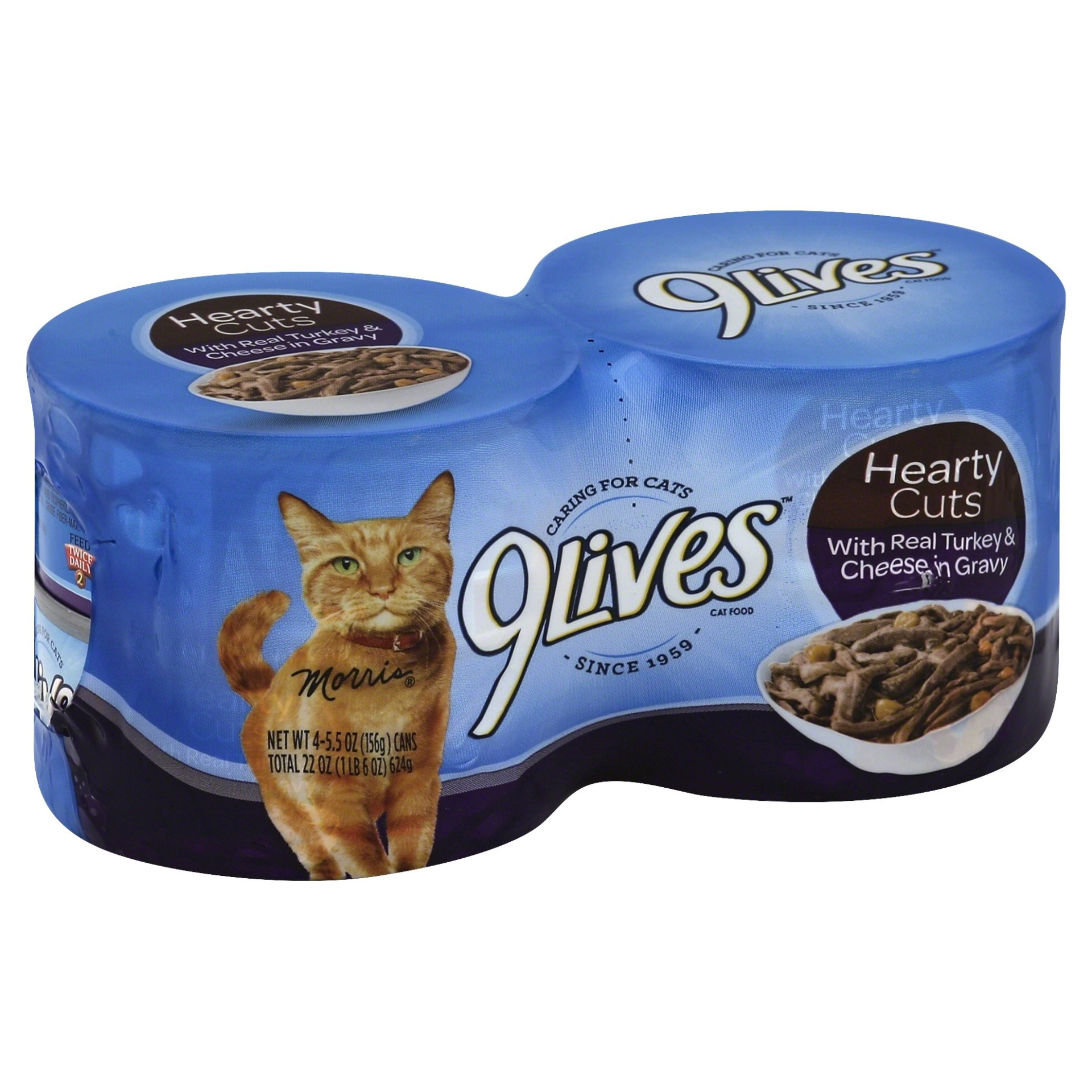 slide 1 of 2, 9Lives Hearty Cuts Cat Food, with Real Turkey & Cheese in Gravy,