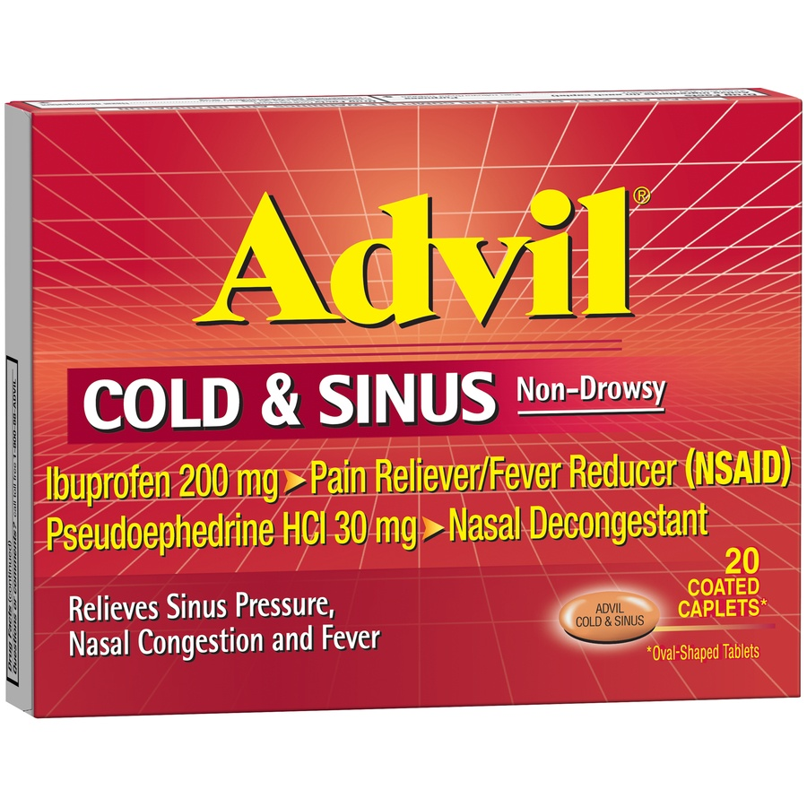 slide 3 of 7, Advil Cold & Sinus Non-Drowsy Pain Reliever/Fever Reducer & Decongestant Coated Caplets,