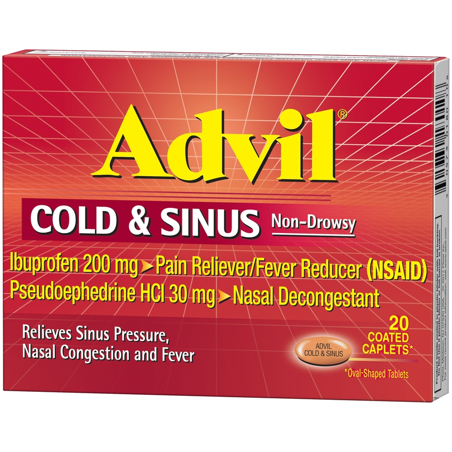 slide 4 of 7, Advil Cold & Sinus Non-Drowsy Pain Reliever/Fever Reducer & Decongestant Coated Caplets,