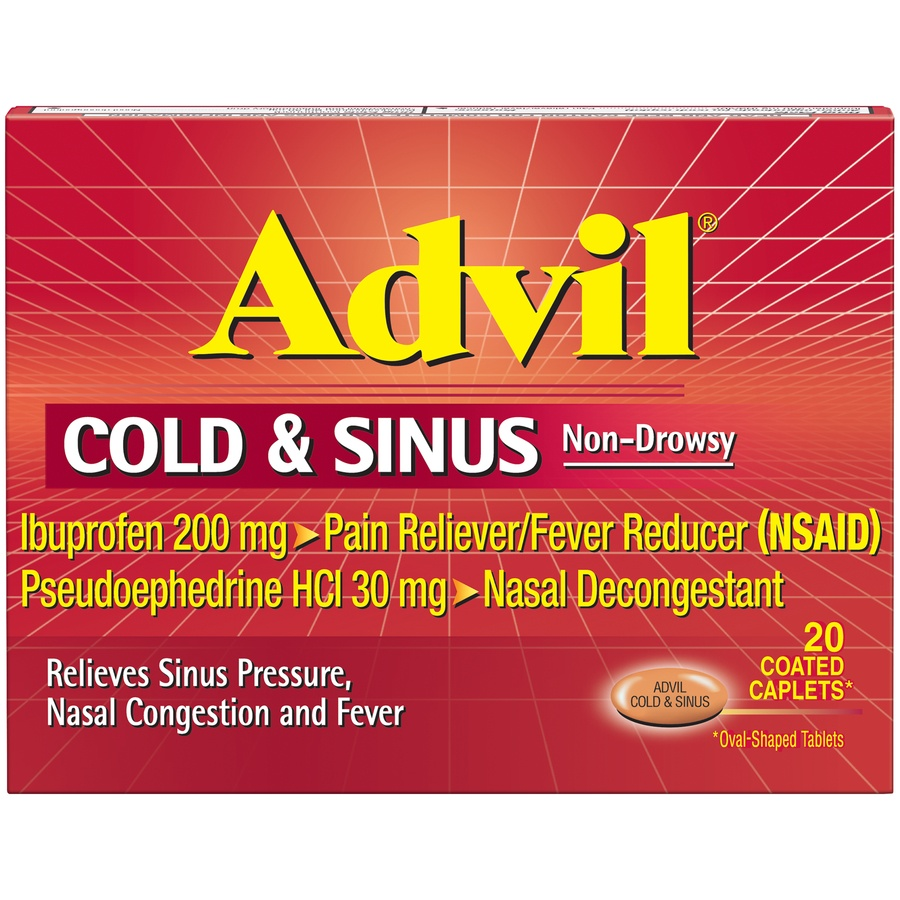 slide 1 of 7, Advil Cold & Sinus Non-Drowsy Pain Reliever/Fever Reducer & Decongestant Coated Caplets,