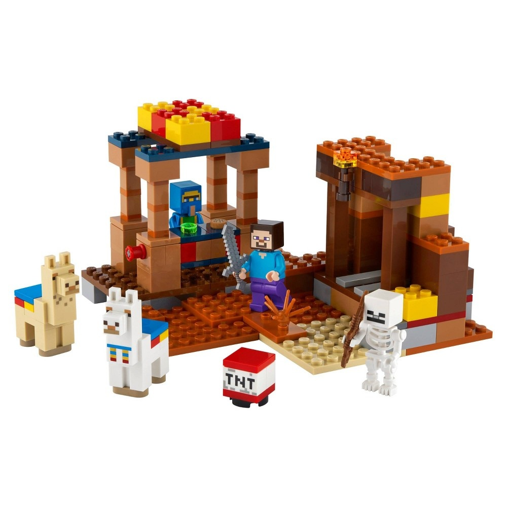 slide 2 of 7, LEGO Minecraft The Trading Post; Includes Minecraft's Steve and Skeleton Toys 21167,