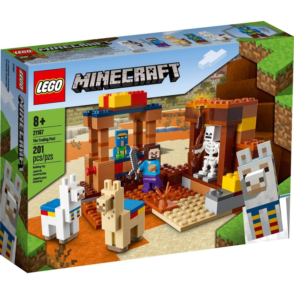 slide 4 of 7, LEGO Minecraft The Trading Post; Includes Minecraft's Steve and Skeleton Toys 21167,