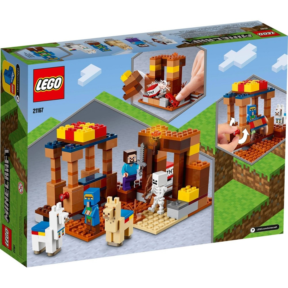 slide 5 of 7, LEGO Minecraft The Trading Post; Includes Minecraft's Steve and Skeleton Toys 21167,