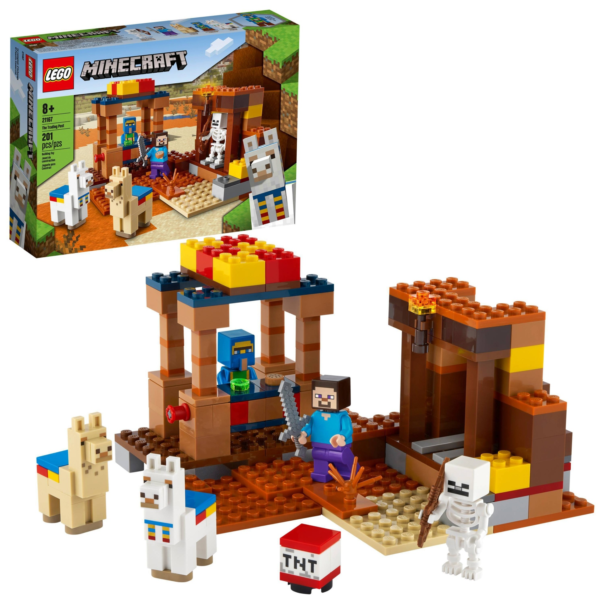 slide 1 of 7, LEGO Minecraft The Trading Post; Includes Minecraft's Steve and Skeleton Toys 21167,