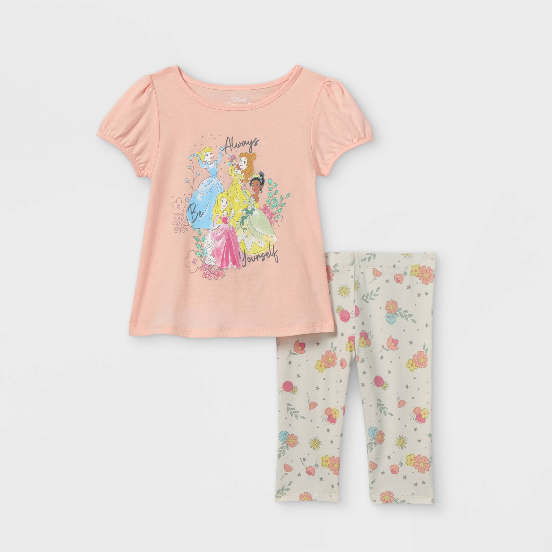 slide 1 of 3, Toddler Girls' Disney Princess 'Always Yourself' Short Sleeve Top and Bottom Set - Pink 5T,