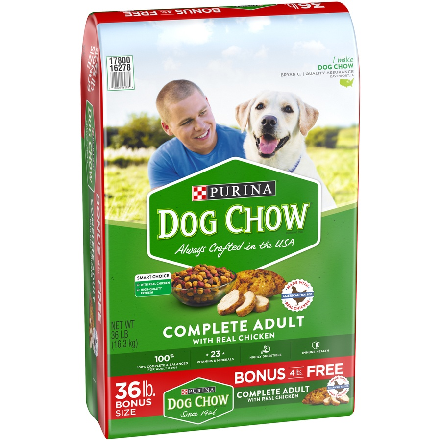 slide 3 of 10, Purina Dog Chow Complete Adult with Real Chicken Dog Food Bonus Size,