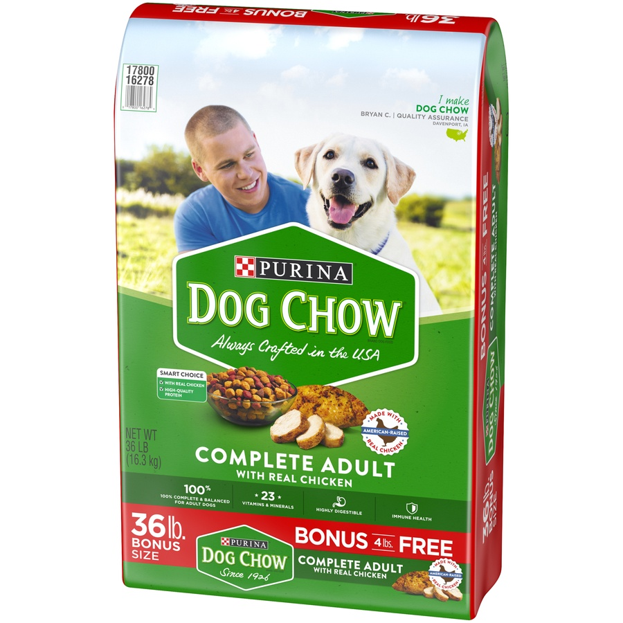 slide 4 of 10, Purina Dog Chow Complete Adult with Real Chicken Dog Food Bonus Size,