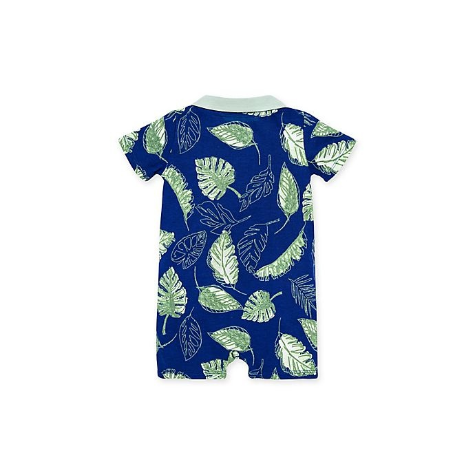 slide 2 of 2, Burt's Bees Baby Jungle Canopy Short Sleeve Polo Romper - Navy,