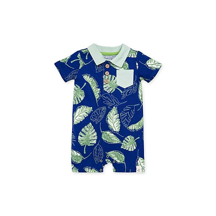 slide 1 of 2, Burt's Bees Baby Jungle Canopy Short Sleeve Polo Romper - Navy,
