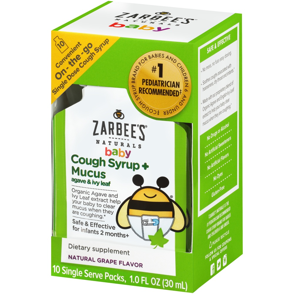 slide 3 of 6, Zarbee's Naturals Baby Cough Syrup + Mucus Relief,