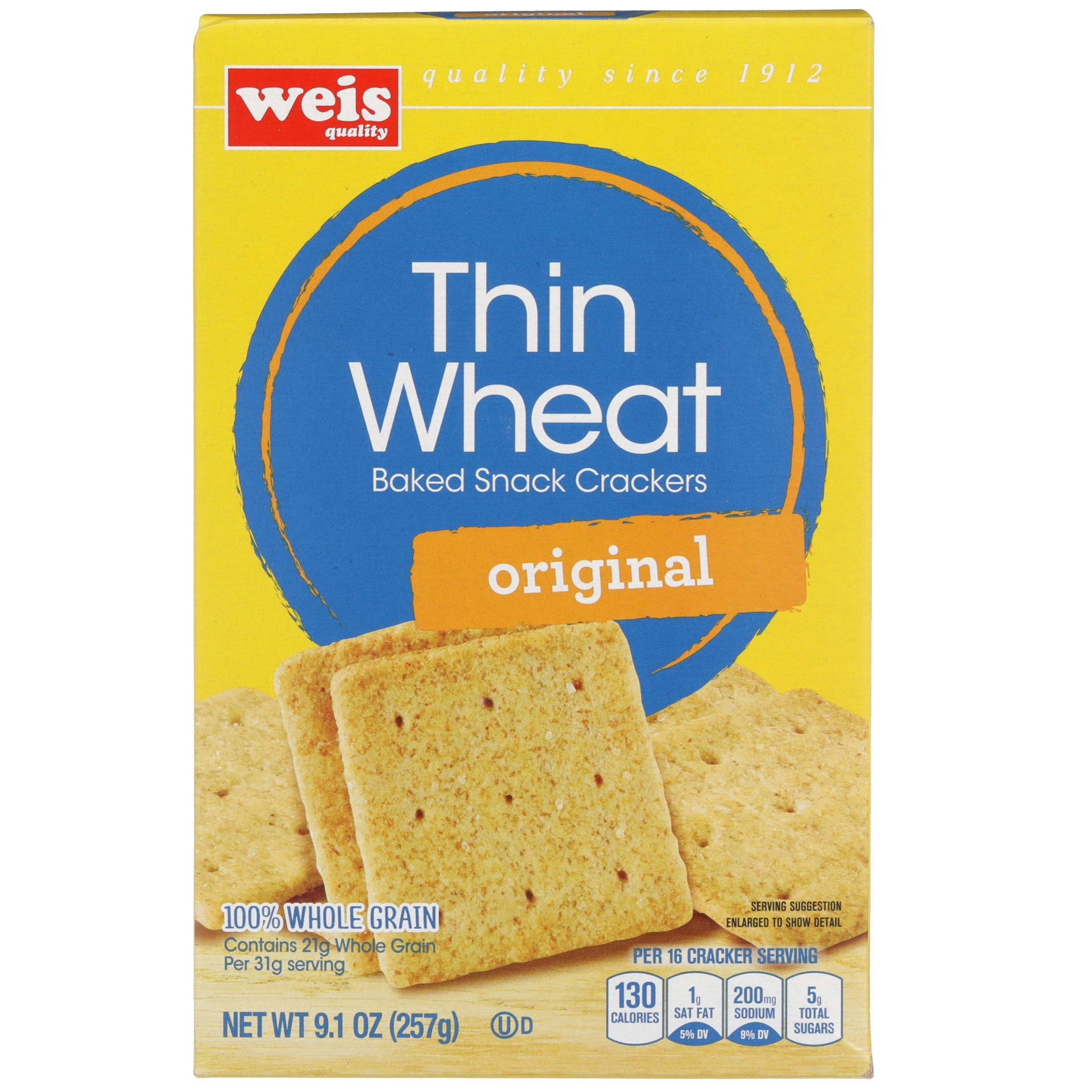 slide 1 of 6, Weis Quality Wheat Thin Cracker,
