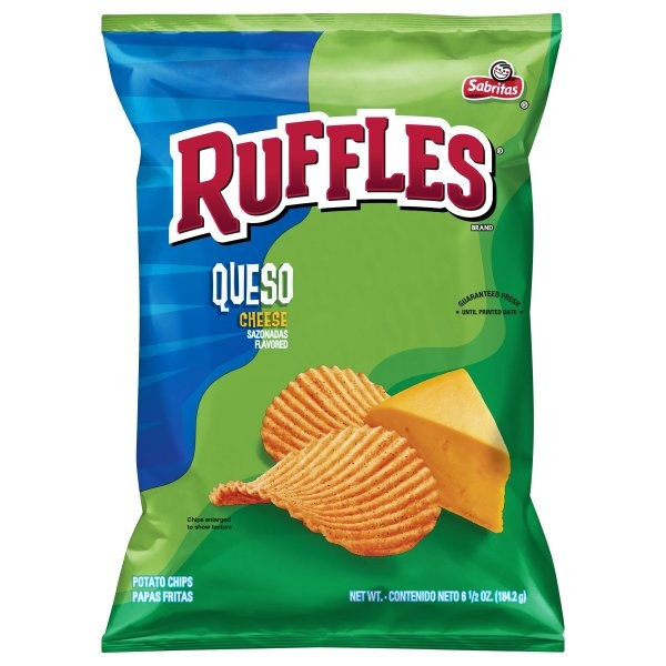 slide 1 of 3, Ruffles Queso Cheese Flavored Potato Chips,