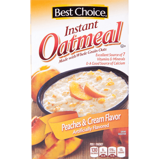 slide 1 of 1, Best Choice Instant Oatmeal Peaches & Cream,