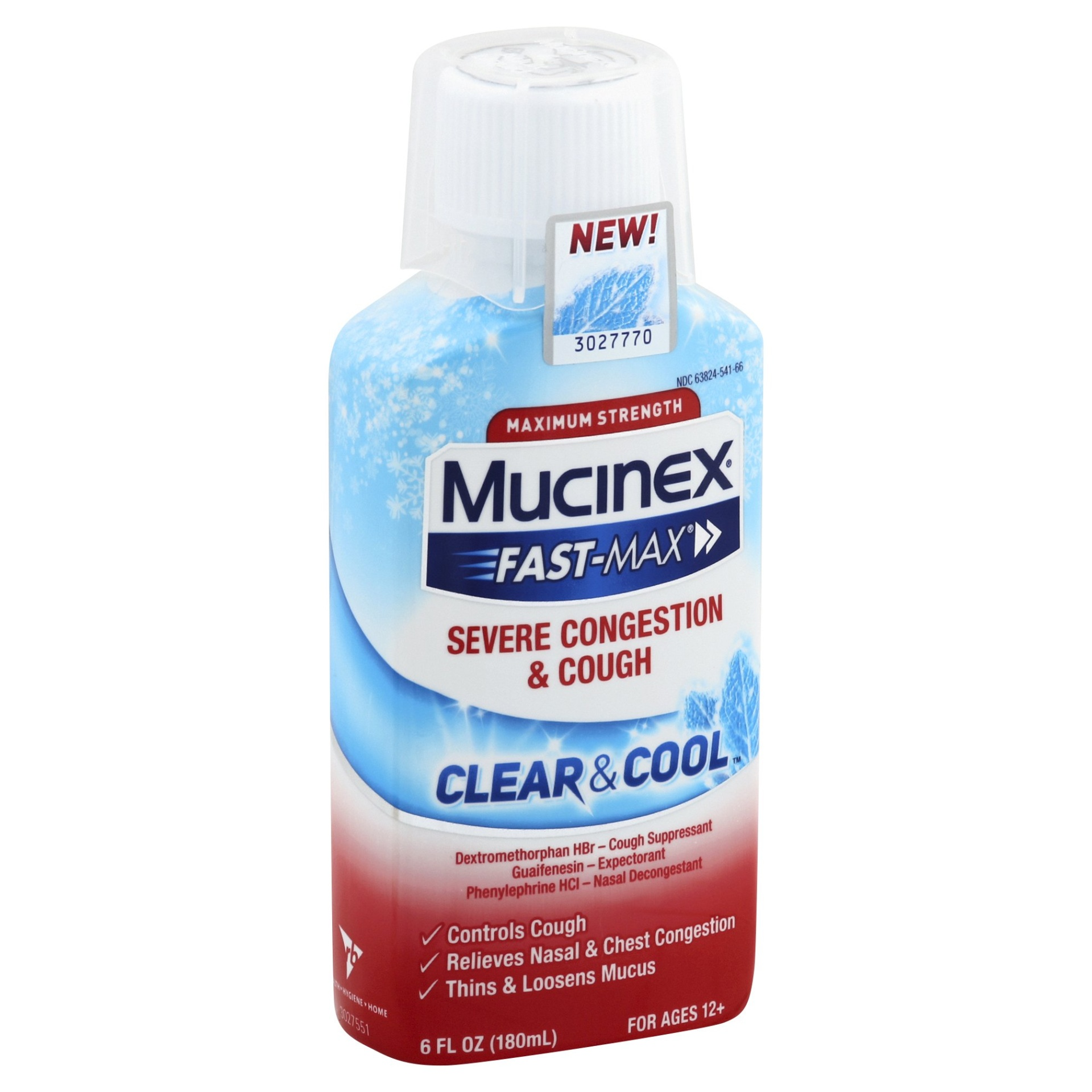 slide 1 of 1, Mucinex Fastmax Clear & Cool Adult Liquid Severe Congestion & Cough,