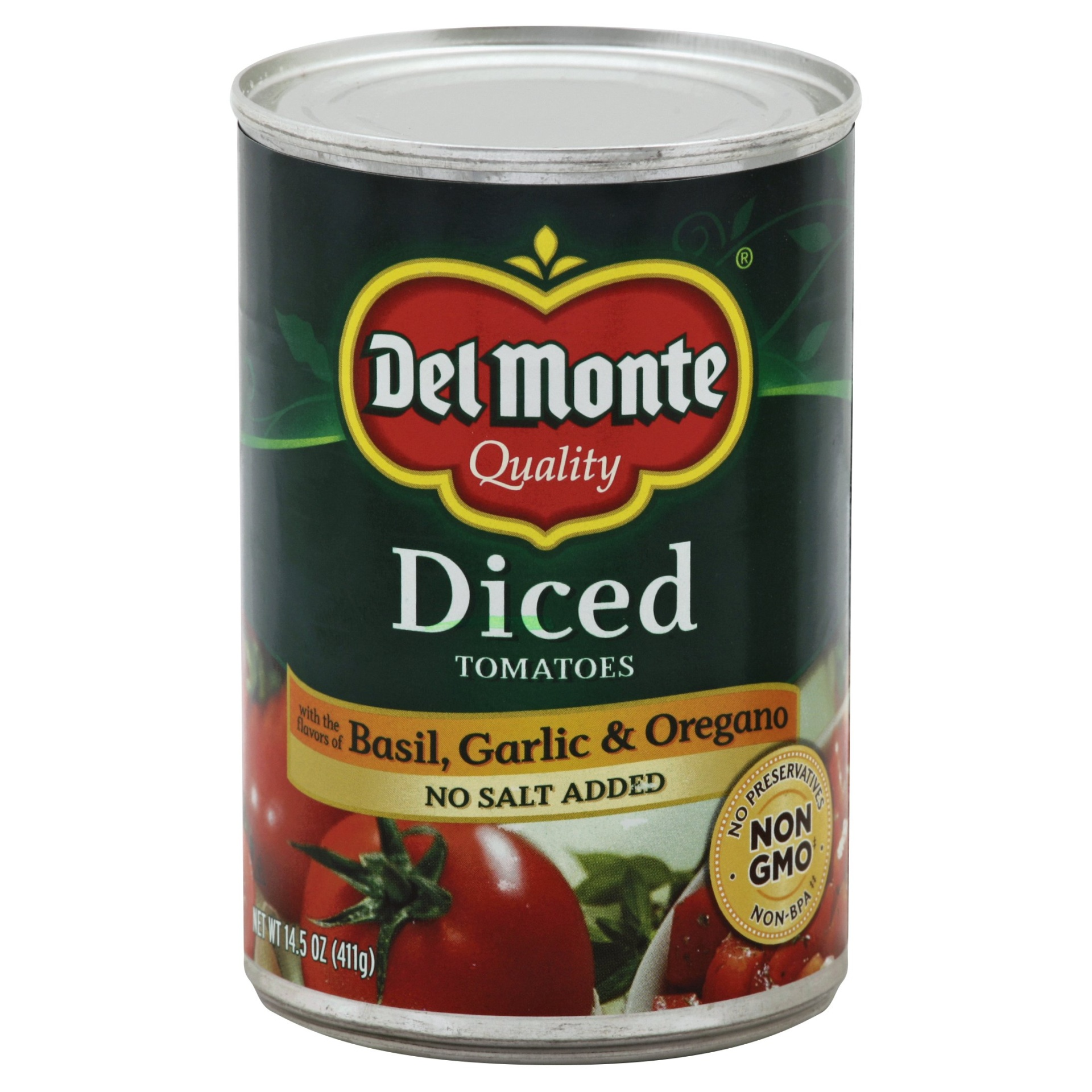 slide 1 of 3, Del Monte Diced Tomatoes Basil, Garlic & Oregano No Salt Added,