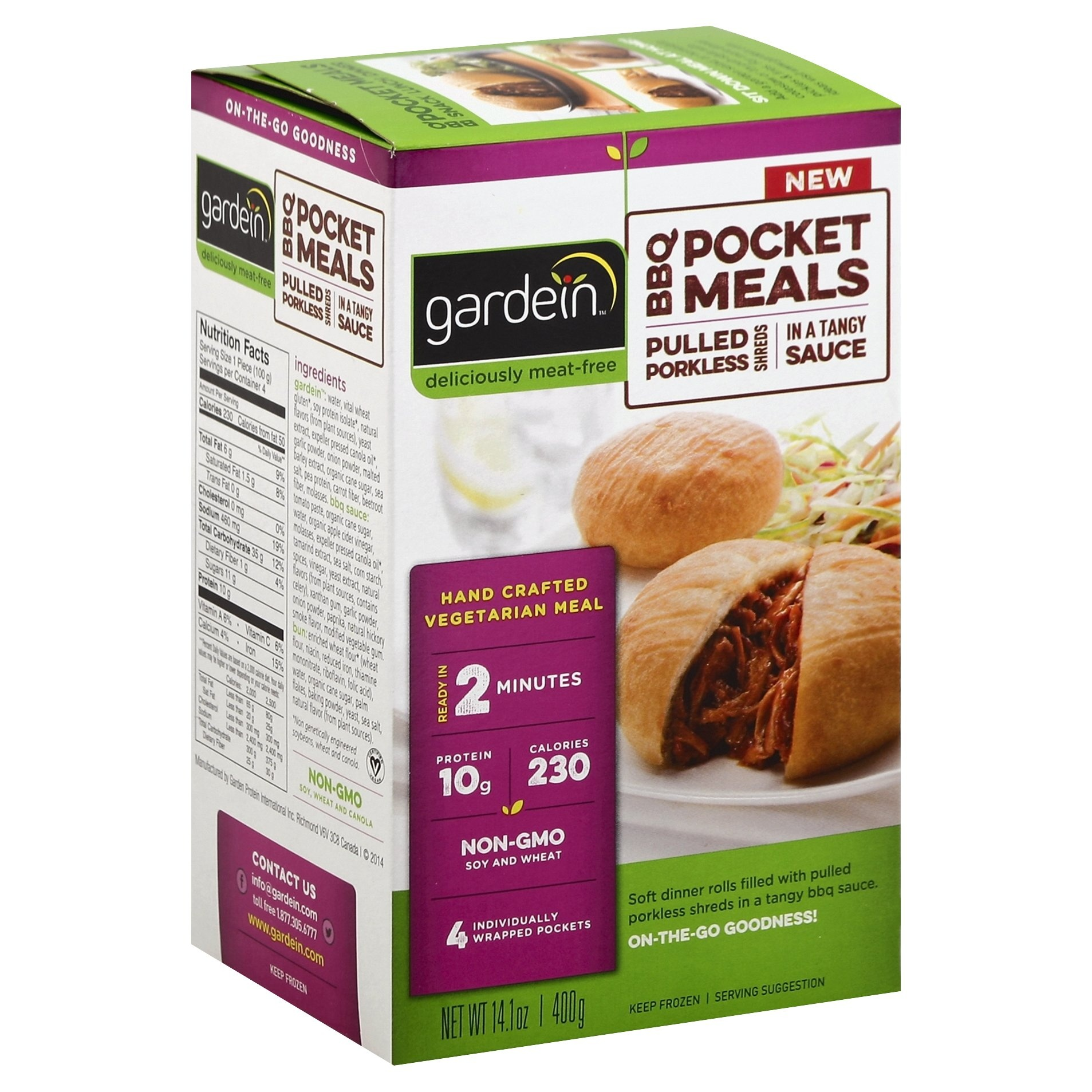 slide 1 of 1, Gardein BBQ Pocket Meals Pulled Porkless Shreds,