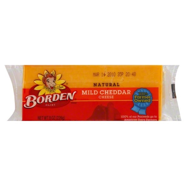 slide 1 of 1, Borden Mild Cheddar Cheese,